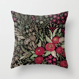 Watercolor . Night garden . Throw Pillow