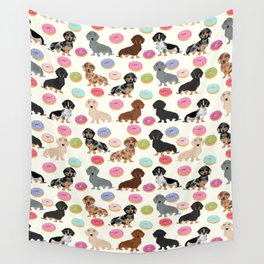 Dachshund weener dog donuts cutest doxie gifts for small dog owners Wall Tapestry
