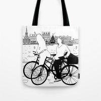 copenhagen Tote Bags featuring Copenhagen by sarknoem