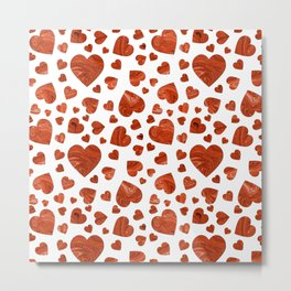 Abstract red marble romantic valentine hearts Metal Print