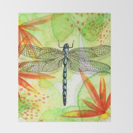 Dragonfly Lilly Art (Watercolor & Ink) Throw Blanket