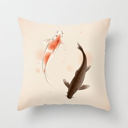 Yin Yang Koi fishes 001 Throw Pillow