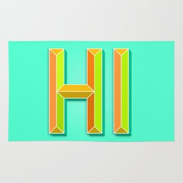 """""""HI"""" 3D Letters (Mint Minty Green, Orange and Lime Green) Rug"""