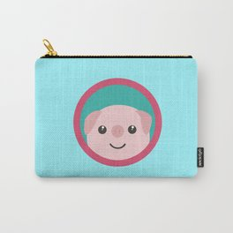 Cute pink pig with purple circle Carry-All Pouch