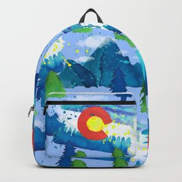 Watercolor Colorado mountains, trees and flag Light Blue Backpack