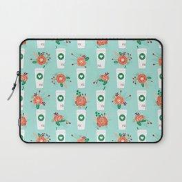 Coffee lovers mint floral bouquet gift idea for sbucks fan java pattern kitchen food Laptop Sleeve