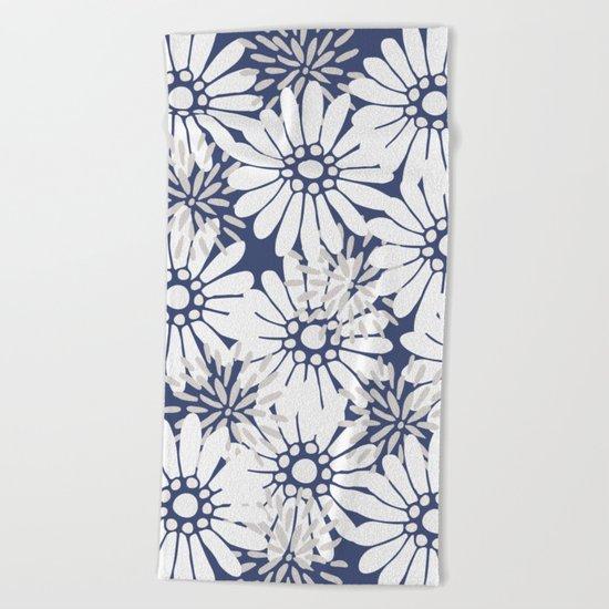 Summer Flowers Dark Blue Beach Towel