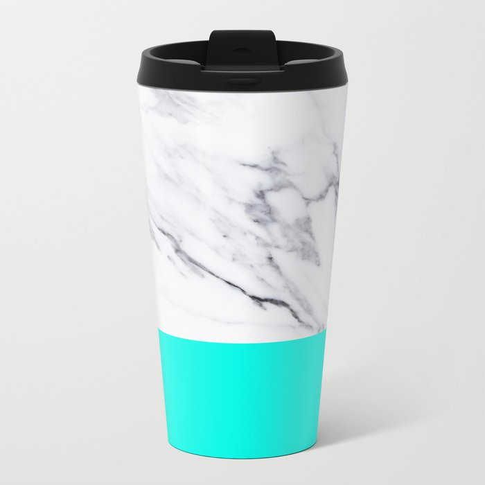 Marble Blue Luxury iPhone Case and Throw Pillow Design Metal Travel Mug