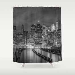 NEW YORK CITY Monochrome Night Impressions | Panoramic Shower Curtain
