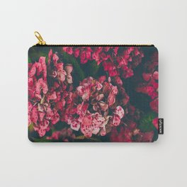 Christmas Hydrangea Red Floral Green Leaves Supple Flowers In The Garden Carry-All Pouch