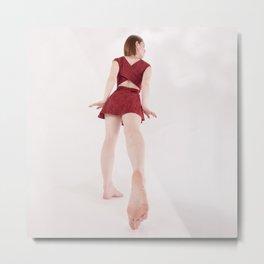 1185s-MM Barefoot Megan in a Little Red Dress High Key Art Photograph Metal Print