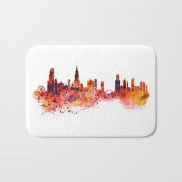 Chicago Watercolor Skyline Bath Mat