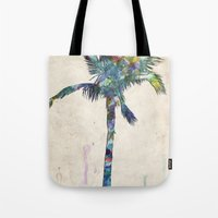 palm tree Tote Bags featuring Palm Tree by Taylor Payne