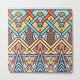 Stylish Btaided Pattern. Mix of Triangles and Stripes Metal Print