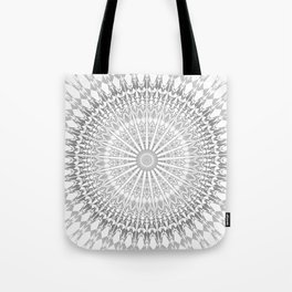 Gray White Mandala Tote Bag