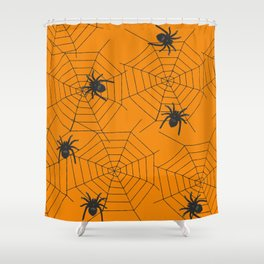 Halloween Spider Illustration Shower Curtain