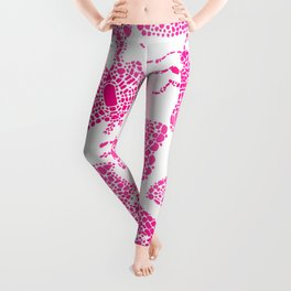 Butterfly Pattern Pink White Stamp Leggings