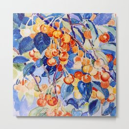 Cherries with blue foliage pattern textile portrait painting by Theo van Rysselberghe Metal Print