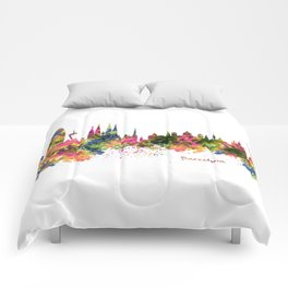 Barcelona Watercolor Skyline Comforters