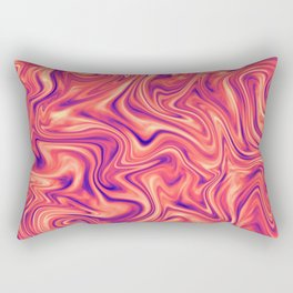 Abstract Colorful Marble Pattern Bright Living Coral, Neon Ultra Violet Rectangular Pillow