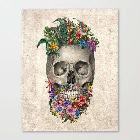 floral beard skull Canvas Print