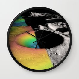 Rainbow Moon Craters Wall Clock