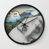 postcard Wall Clocks featuring Postcard #22 by Jon Duci