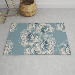 Blush Blue Peony Flower Bouquet #1 #floral #decor #art #society6 Rug