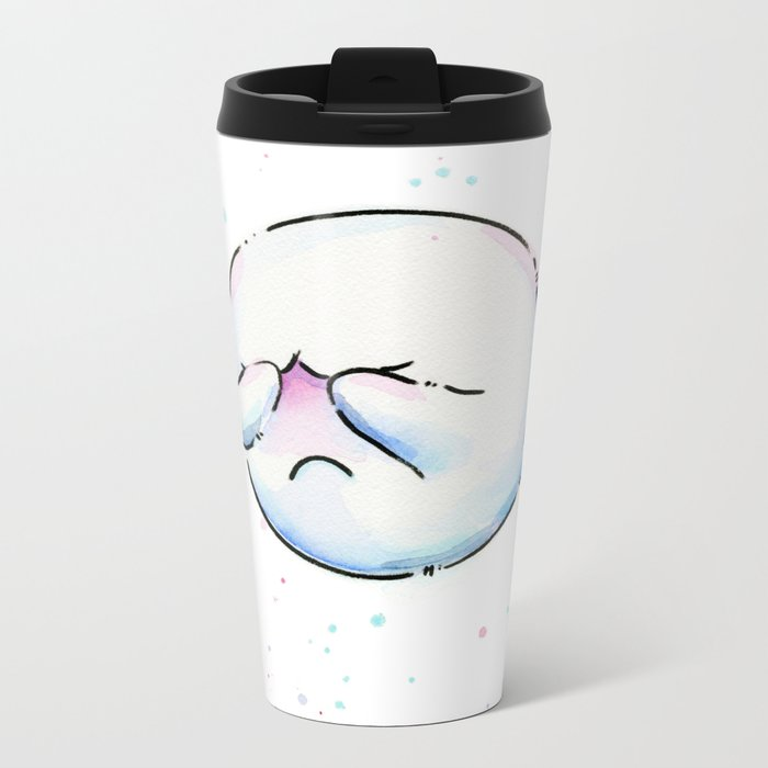 Boo Ghost Mario Watercolor Metal Travel Mug