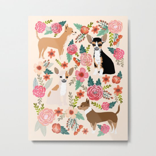 Chihuahua florals cute pastel dog breed must have gifts for small dog owner dog person pet portraits Metal Print