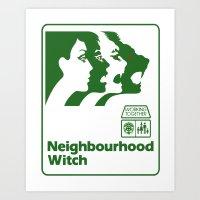 the neighbourhood Art Prints featuring Neighbourhood Witch by Crank Institute