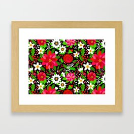 Christmas Flowers and Holly, Poinsettia, Roses and Lilies, holidays, girls floral gift, gift for mom Framed Art Print