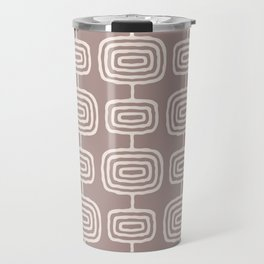 Mid Century Modern Atomic Rings Pattern Beige Travel Mug