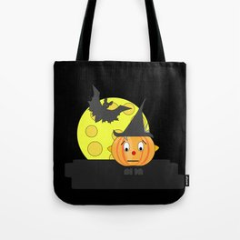 Funny emotionless pumpkin head with bat and moon Tote Bag