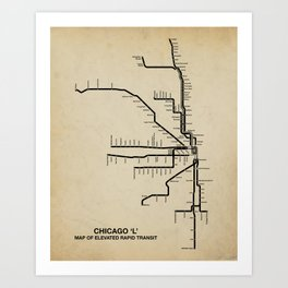 Chicago CTA Map Art Print
