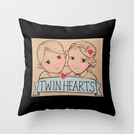 Twin Hearts Throw Pillow