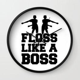 Floss Dance Black Boss Wall Clock