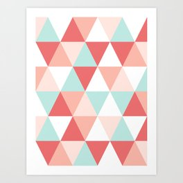 Modern quilt pattern triangle quilt baby nursery gender neutral gifts for new baby room Art Print