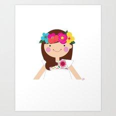 Brunette Floral Crown Girl Art Print