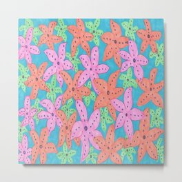 Tropical Starfish Print Metal Print