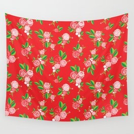 Red Summer Rose Wall Tapestry
