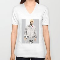 steve mcqueen V-neck T-shirts featuring Steve McQueen by Studio Drawgood