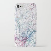 cincinnati iPhone & iPod Cases featuring Cincinnati map by MapMapMaps.Watercolors