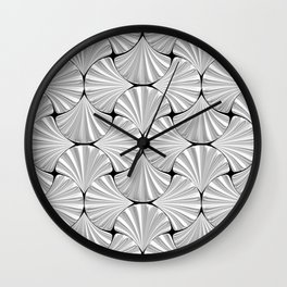 3-D Art Deco Silver Shells Pattern Wall Clock