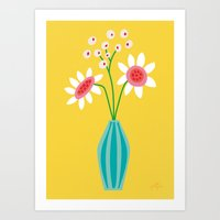 Art Print featuring Sunny Flowers  by Jolijou