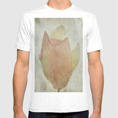 Textured Rose MEDIUM White Mens Fitted Tee