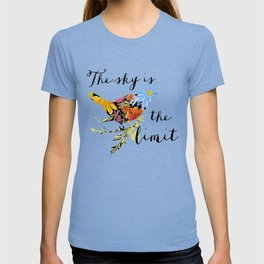 Bird Filled with Watercolor Flowers and Saying T-shirt
