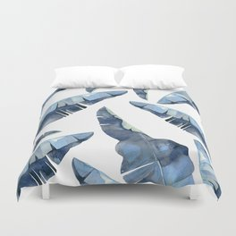 Banana Leaves 2 Blue Duvet Cover