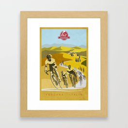 Strade Bianche retro cycling classic art Framed Art Print