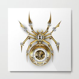 Spider with Clock ( Steampunk ) Metal Print